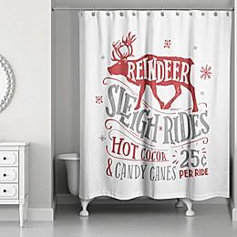 Designs Direct Reindeer Sleigh Rides Shower Curtain
