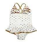 Floatimini Size 12M 1-Piece Gold Heart Ruffle Swimsuit in White