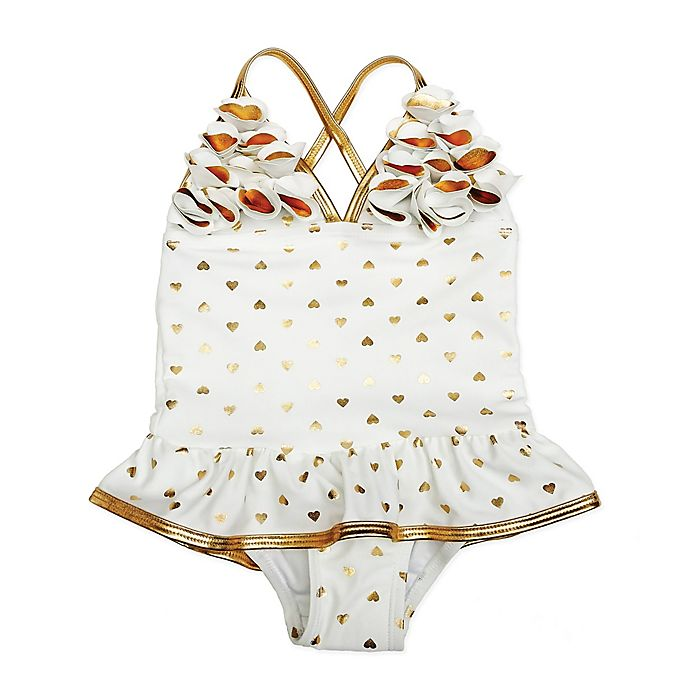 Alternate image 1 for Floatimini Size 18M 1-Piece Gold Heart Ruffle Swimsuit in White