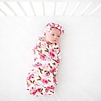 Posh Peanut 2-Piece Pink Rose Swaddle with Headband Set in Pink