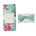 Posh Peanut 2-Piece Aqua Floral Swaddle with Headband
