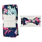 Posh Peanut 2-Piece Navy Floral Swaddle with Headband
