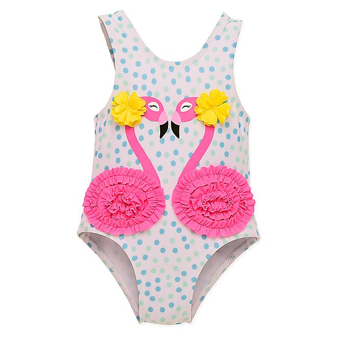 Alternate image 1 for Wetsuit Club 1-Piece Flamingos Swimsuit in White