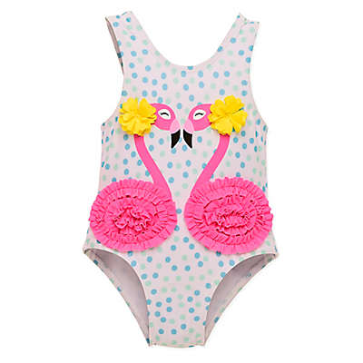 Wetsuit Club 1-Piece Flamingos Swimsuit in White