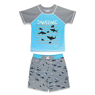 "Sol Swim 2-Piece ""Jawsome"" Rashguard and Swim Trunk Set in Blue"