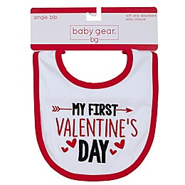 """babyGEAR® """"My First Valentine's Day"""" Bib in Red"""