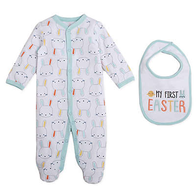 babyGEAR™ 2-Piece Bunny Footie and Bib Set in Aqua