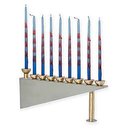 Modern Geometric Pewter Hanukkah Menorah in Silver/Gold