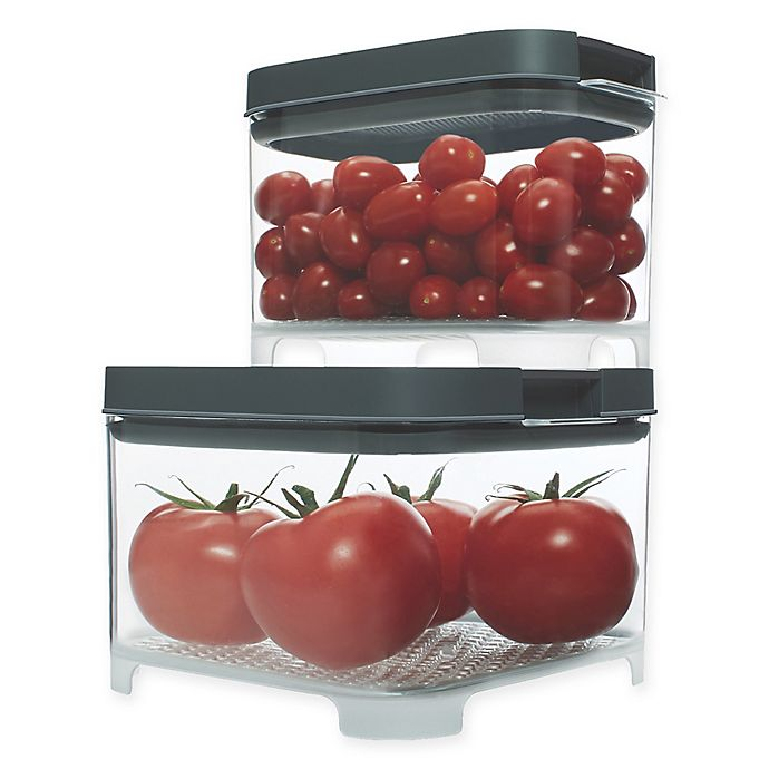 Alternate image 1 for Rubbermaid Freshworks Countertop Small Produce Containers with Lids in Grey/Clear (Set of 4)