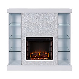 Southern Enterprises© Colworth Mosaic Tile Media Stand Electric Fireplace in White