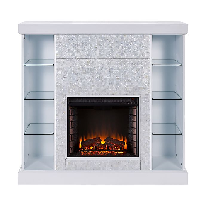 Alternate image 1 for Southern Enterprises Colworth Mosaic Tile Infrared Electric Media Fireplace in White