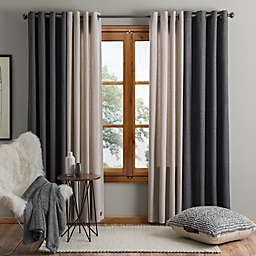 Ashton 84 Inch Grommet Window Curtain Panel In Black Bed