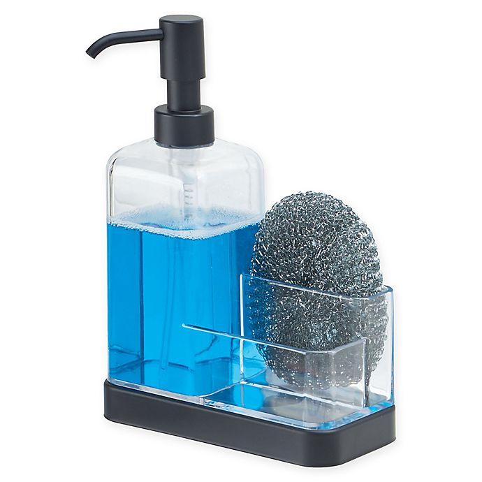 Alternate image 1 for iDesign® Forma Soap Pump with Sponge Caddy in Matte Black