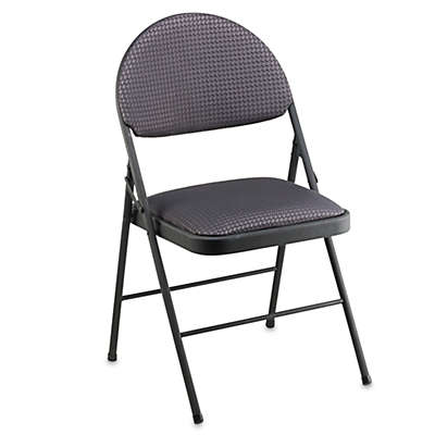 Cosco® Oversized Upholstered Metal Folding Chair in Black