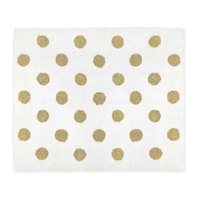 Alternate image 1 for Sweet Jojo Designs® Mini Polka Dot 2'6 x 3' Accent Rug in Gold/White