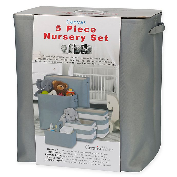 Alternate image 1 for 5-Piece Nursery Storage Set in Grey