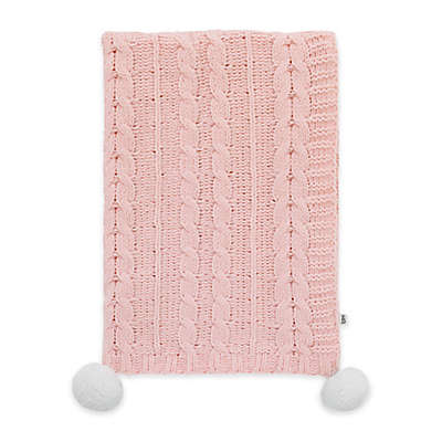 ED Ellen DeGeneres Painterly Floral Cable Knit Baby Blanket in Pink
