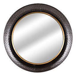 Concave 35-Inch Round Wall Mirror in Brown