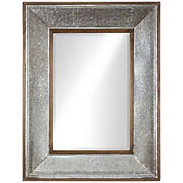 39-Inch x 30-Inch Rustic Wood and Galavanized Metal Rectangular Mirror in Silver
