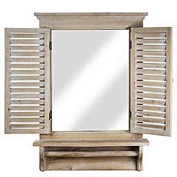 Crystal Art Window Shutter Shelf Wall Mirror in Light Brown