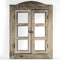 20-Inch x 15.25-Inch Window Shutter Mirror in Brown