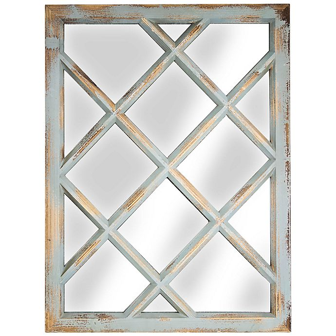 Alternate image 1 for Rustic Window Pane 27.5-Inch x 20.25-Inch Rectangular Wall Mirror in Mint Green