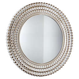 Crystal Art Scalloped Round Wall Mirror in Gold/White