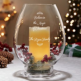 Holiday Message Engraved Hurricane Candle Holder