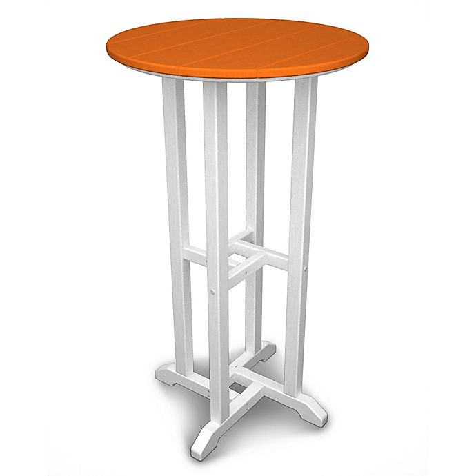 Alternate image 1 for POLYWOOD® Contempo 24-Inch Round Bar Table in White/Orange
