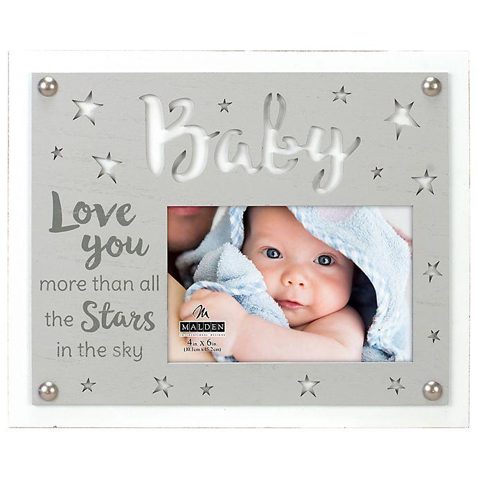 Alternate image 1 for Maiden Love Stars Baby 4-Inch x 6-Inch Photo Frame in Grey