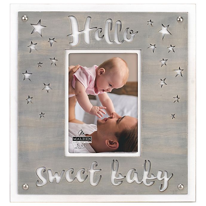 Alternate image 1 for Maiden Hello Baby 5-Inch x 7-Inch Photo Frame in Grey