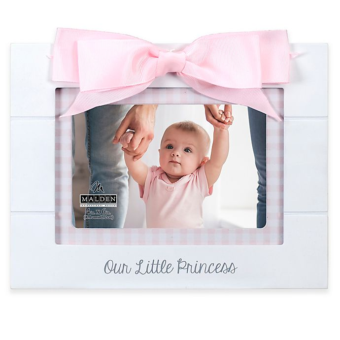 Alternate image 1 for Maiden Princess Gingham 4-Inch x 6-Inch Photo Frame in White