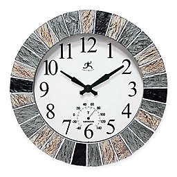 Infinity Instruments® Faux Slate Indoor/Outdoor Wall Clock with Thermometer