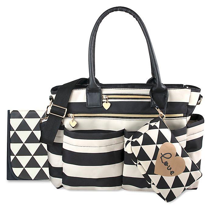 Alternate image 1 for Mom's Chic Diaper Bag in Black/White