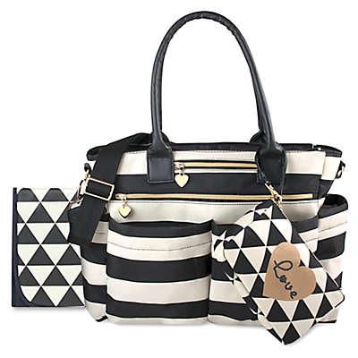 Mom's Chic Diaper Bag in Black/White