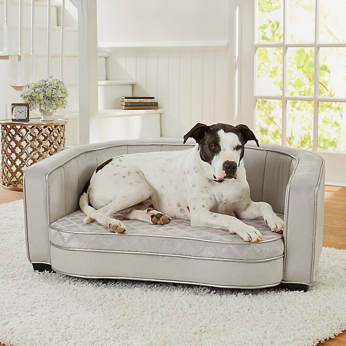Enchanted Home Pet® Jules Large Pet Sofa in Silver | Bed ...