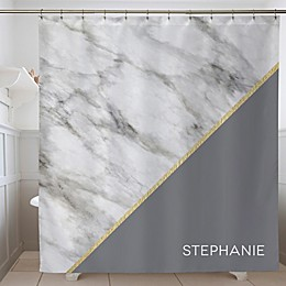 Marble Chic Personalized Shower Curtain