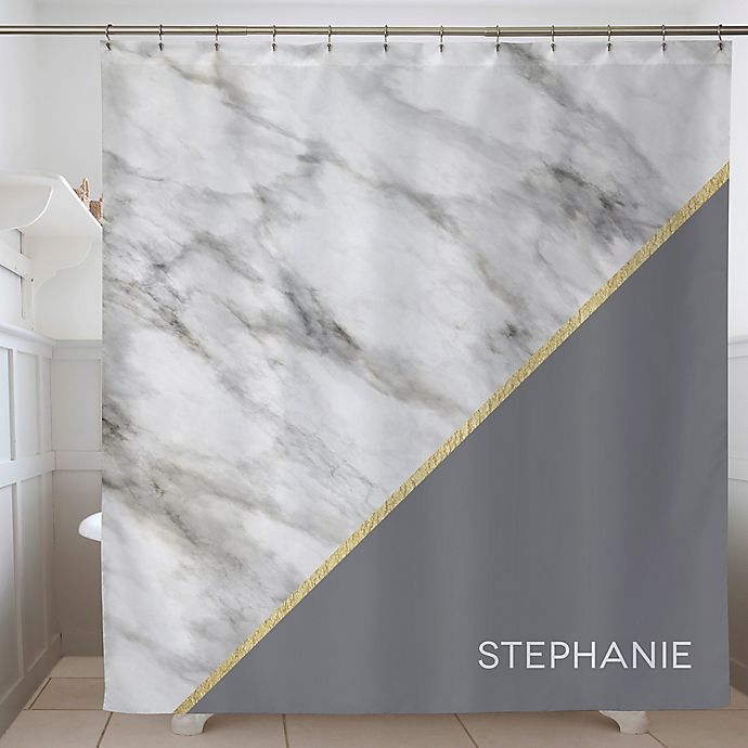 Alternate image 1 for Marble Chic Personalized Shower Curtain