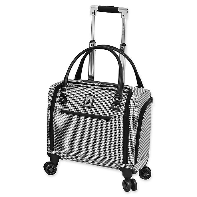 Alternate image 1 for London Fog® Cambridge II 15-Inch Spinner Underseat Luggage in Black/White
