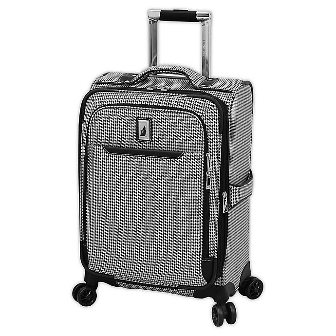 Alternate image 1 for London Fog® Cambridge II 20-Inch Spinner Carry On Luggage in Black/White