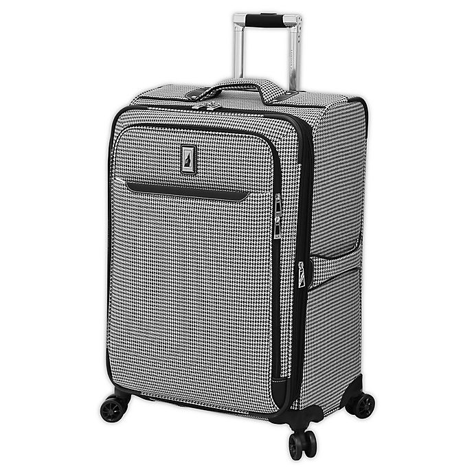 Alternate image 1 for London Fog® Cambridge II 25-Inch Spinner Checked Luggage in Black/White