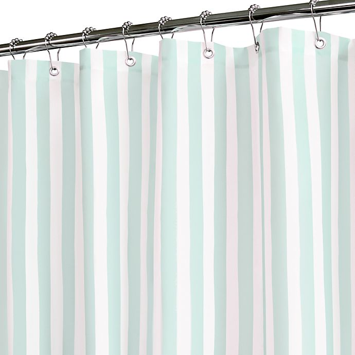 Tranquil Stripe Seaglass And White Shower Curtain