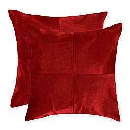 Torino Quattro Square Throw Pillows in Red (Set of 2)