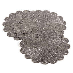 Saro Lifestyle Flower Beaded Placemats (Set of 4)
