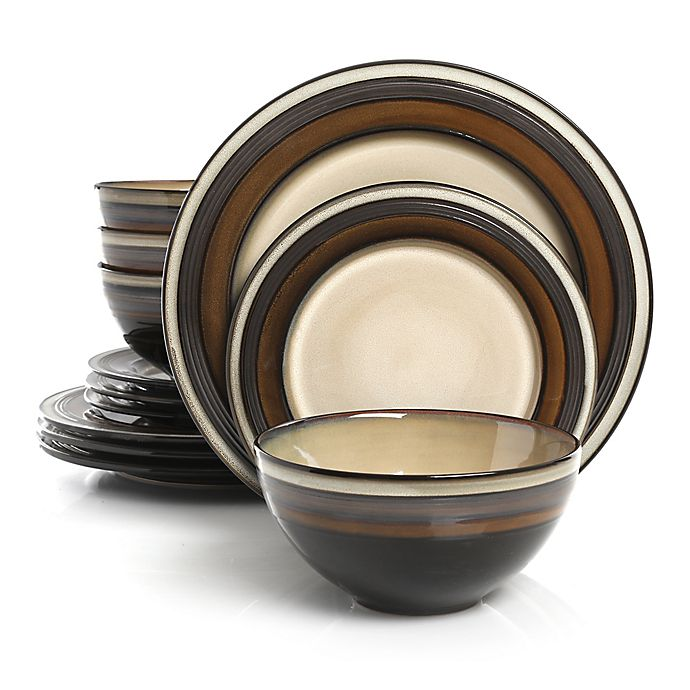 Alternate image 1 for Gibson Elite Everston 12-Piece Dinnerware Set in Brown/Cream