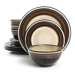 Gibson Elite Everston 12-Piece Dinnerware Set in Brown/Cream