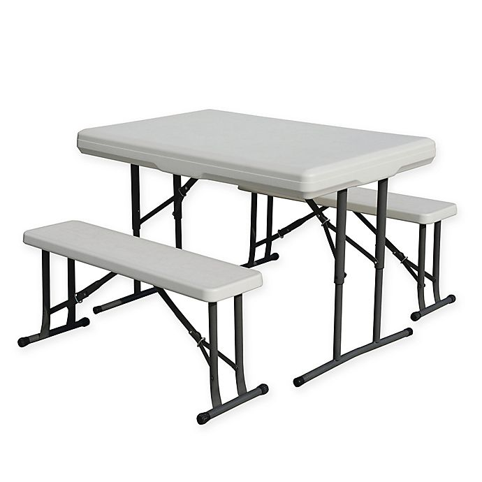 Alternate image 1 for Stansport® 3-Piece Folding Table with Bench Seats Set
