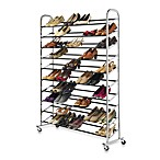 60-Pair Rolling Shoe Rack in Chrome