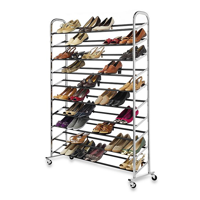 Alternate image 1 for 60-Pair Rolling Shoe Rack in Chrome