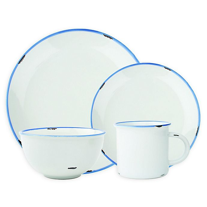 Alternate image 1 for canvas home™ Tinware 4-Piece Place Setting in White/Blue